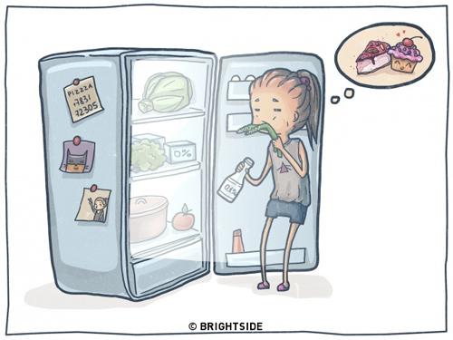 Thèm bánh quá mà không dám ăn vì sợ béo, chỉ dám ăn rau và nước uống